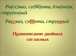 Правописание двойных согласных Ра(сс)каз, су(бб)ота, стру(нн)ый дли(нн)а, Рас