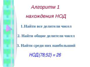 Алгоритм 1 нахождения НОД Найти все делители чисел 2. Найти общие делители чи