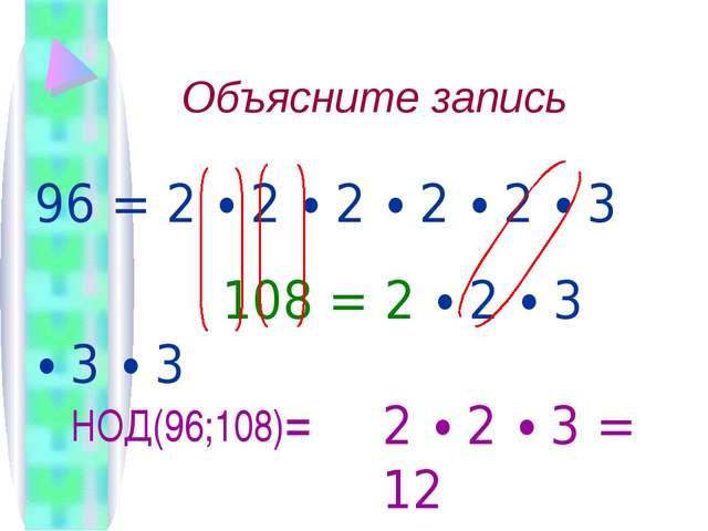 Объясните запись  96 = 2 ∙ 2 ∙ 2 ∙ 2 ∙ 2 ∙ 3 108 = 2 ∙ 2 ∙ 3 ∙ 3 ∙ 3 НОД(96;...