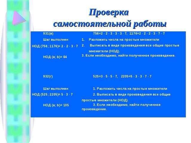 Проверка самостоятельной работы 931(в)756=2 · 2 · 3 · 3 · 3 · 7, 1176=2 · 2...