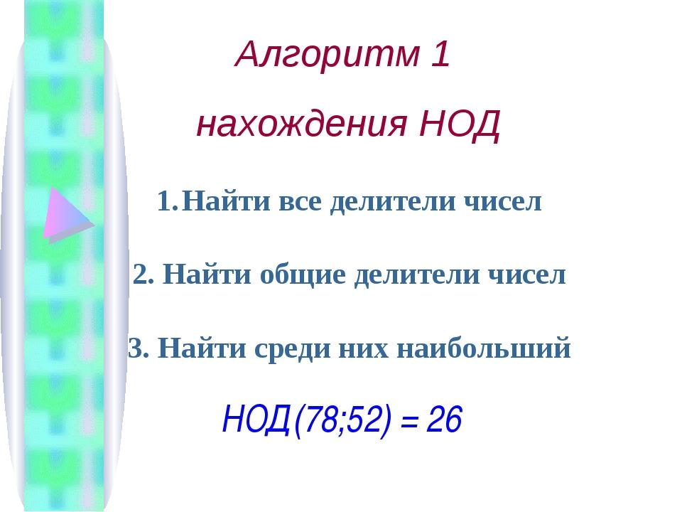 Алгоритм 1 нахождения НОД Найти все делители чисел 2. Найти общие делители чи...
