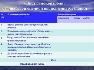 «Лист самоконтроля» с пошаговой оценкой выполненных заданий № п/пОцениваемая