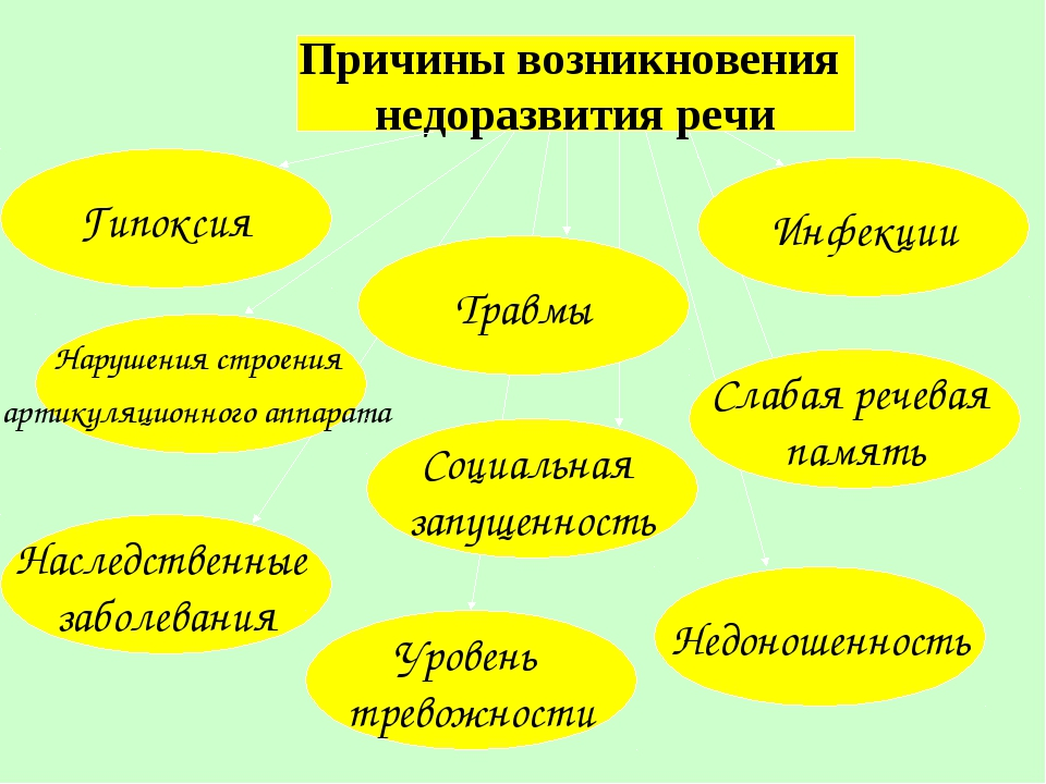 Причины возникновения недоразвития речи Гипоксия Нарушения строения артикуляц...