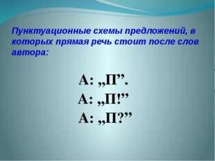 Пунктуационные схемы предложений, в которых прямая речь стоит после слов авто
