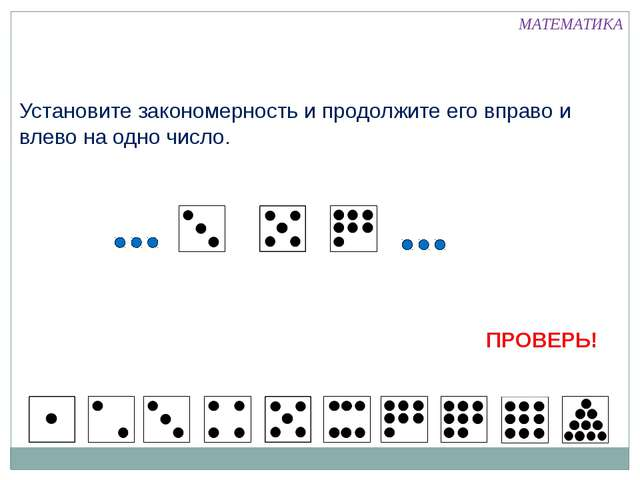Установите закономерность и продолжите его вправо и влево на одно число. МАТЕ...