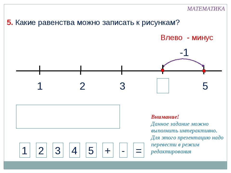 1 3 2 5 -1 МАТЕМАТИКА 1 2 3 4 + - = Внимание! Данное задание можно выполнить...