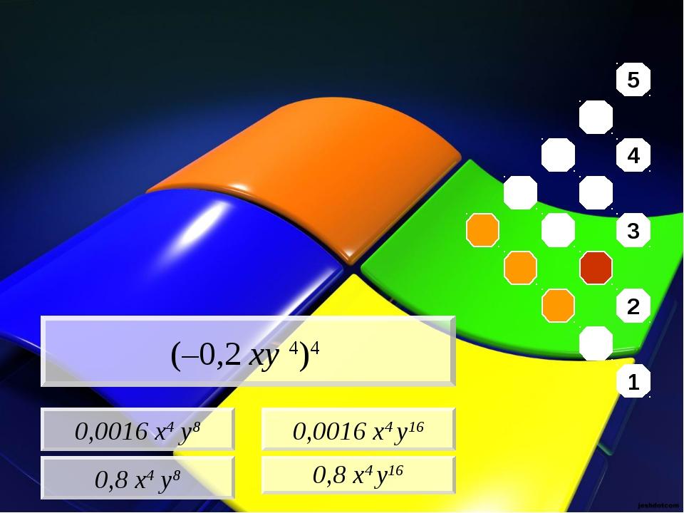 0,0016 x4 y8 0,8 x4 y8 0,0016 x4 y16 0,8 x4 y16 (–0,2 xy 4)4 5 4 3 2 1