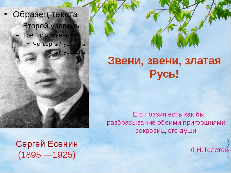 Звени, звени, златая Русь! Его поэзия есть как бы разбрасывание обеими пригор...