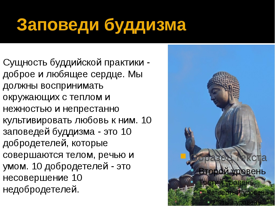 Заповеди буддизма Сущность буддийской практики - доброе и любящее сердце. Мы...