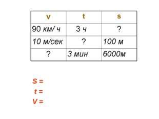 S = t = V =
