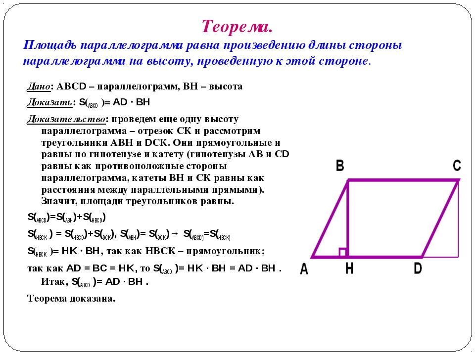Теорема. Площадь параллелограмма равна произведению длины стороны параллелогр...
