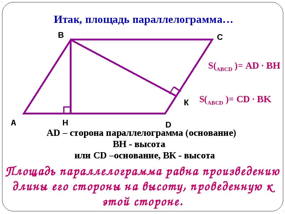 Итак, площадь параллелограмма… A B C D H AD – сторона параллелограмма (основа...