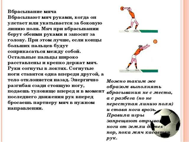 Вбрасывание мяча Вбрасывают мяч руками, когда он улетает или укатывается за б...