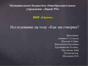 Муниципальное бюджетное общеобразовательное учреждение «Лицей №6» НОУ «Светоч