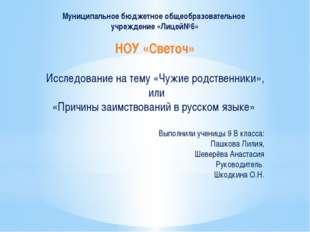 Муниципальное бюджетное общеобразовательное учреждение «Лицей№6» НОУ «Светоч»