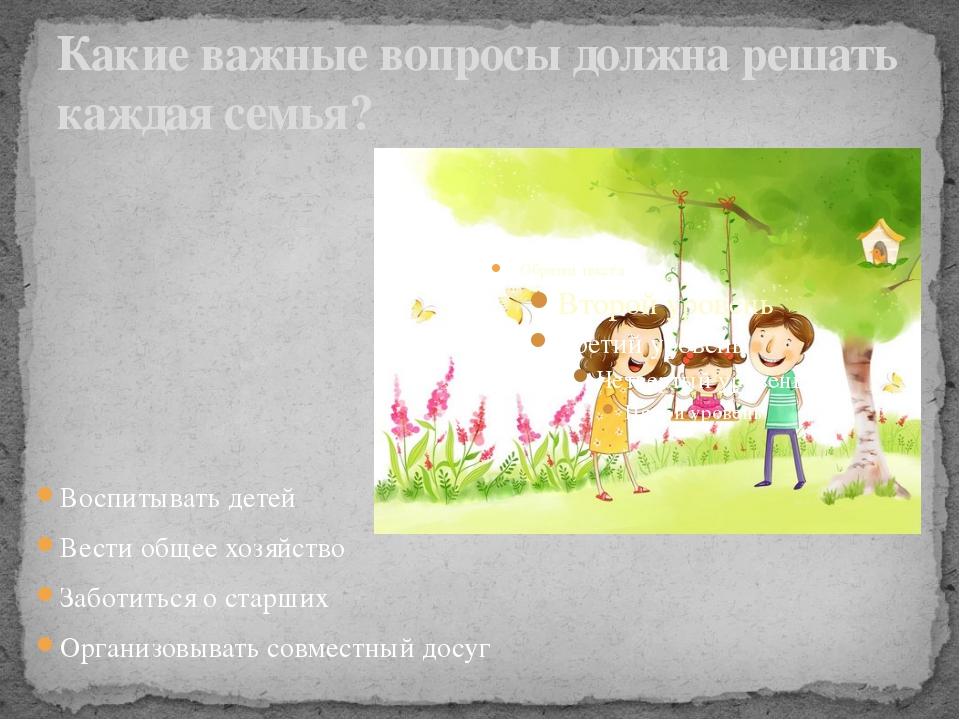 Какие важные вопросы должна решать каждая семья? Воспитывать детей Вести обще...