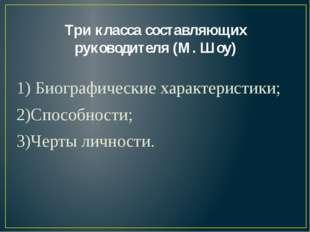 Три класса составляющих руководителя (М. Шоу) 1) Биографические характеристик