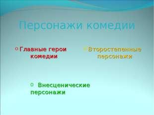 Персонажи комедии Главные герои комедии Второстепенные персонажи Внесценическ