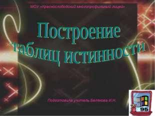 Подготовила учитель Белякова И.Н. МОУ «Краснослободский многопрофильный лицей»