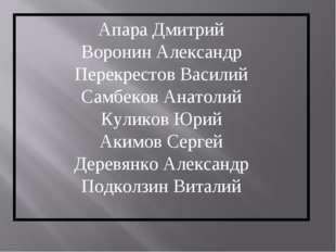 Апара Дмитрий Воронин Александр Перекрестов Василий Самбеков Анатолий Куликов