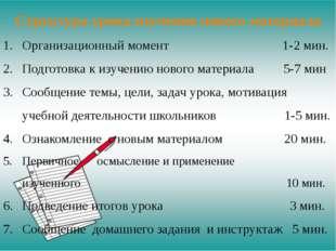 Структура урока изучения нового материала Организационный момент 1-2 мин. Под