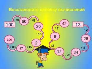 Восстановите цепочку вычислений 100 60 30 2 17 100 42 6 12 26 34 13 :2 -40 :