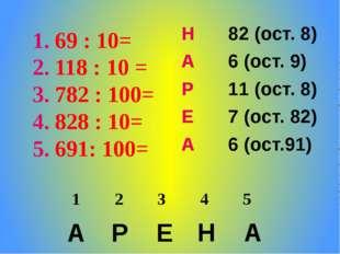 69 : 10= 118 : 10 = 782 : 100= 828 : 10= 691: 100= А Р Е Н А Н 82 (ост. 8) А