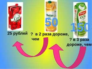 25 рублей ? в 2 раза дороже, чем ? в 3 раза дороже, чем 150 50