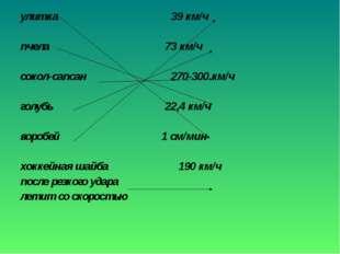 улитка 39 км/ч пчела 73 км/ч сокол-сапсан 270-300 км/ч голубь 22,4 км/ч вороб