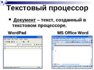 Текстовый процессор Документ – текст, созданный в текстовом процессоре. WordP