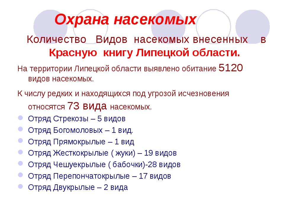 Охрана насекомых Количество Видов насекомых внесенных в Красную книгу Липецк...