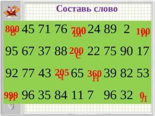 Составь слово 700 999 0 200 800 205 360 100 в е л и ч и н ы 4571762489