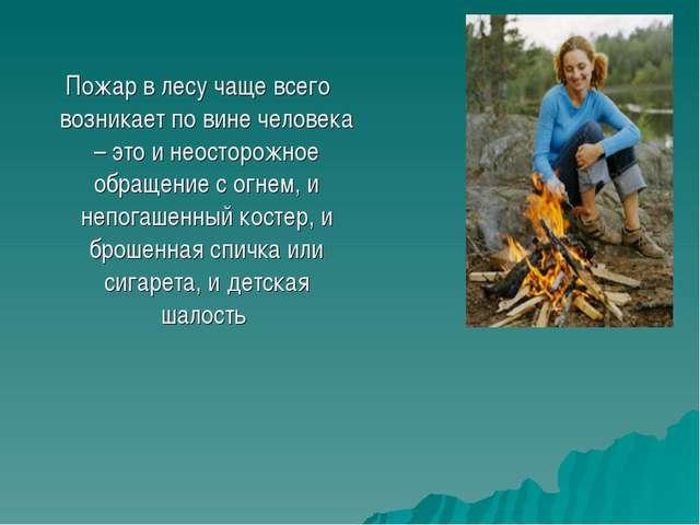 Пожар в лесу чаще всего возникает по вине человека – это и неосторожное обращ...