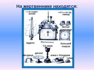На жертвеннике находятся: копие лжица кадило малые покровцы большой покров зв