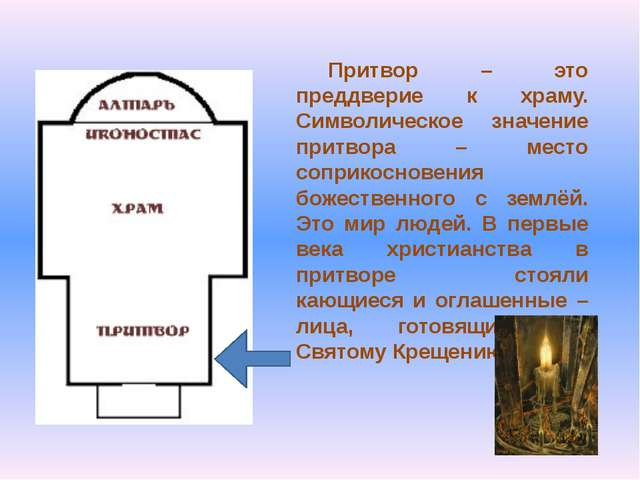 Притвор – это преддверие к храму. Символическое значение притвора – место соп...