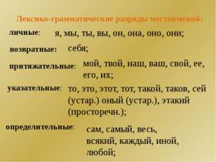 Лексико-грамматические разряды местоимений: личные: я, мы, ты, вы, он, она, о
