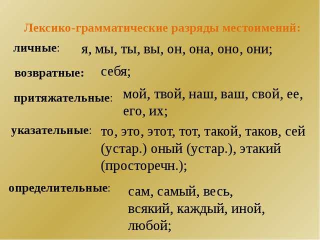 Лексико-грамматические разряды местоимений: личные: я, мы, ты, вы, он, она, о...