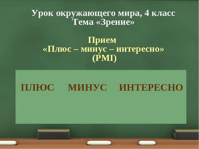 Урок окружающего мира, 4 класс Тема «Зрение» Прием «Плюс – минус – интересно»...