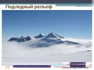 Подледный рельеф материка разнообразен: есть горы, равнины, в том числе высок