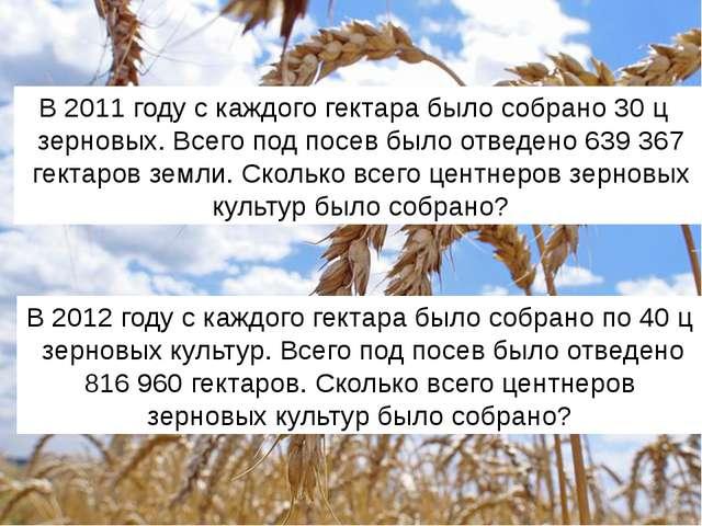 В 2012 году с каждого гектара было собрано по 40 ц зерновых культур. Всего по...