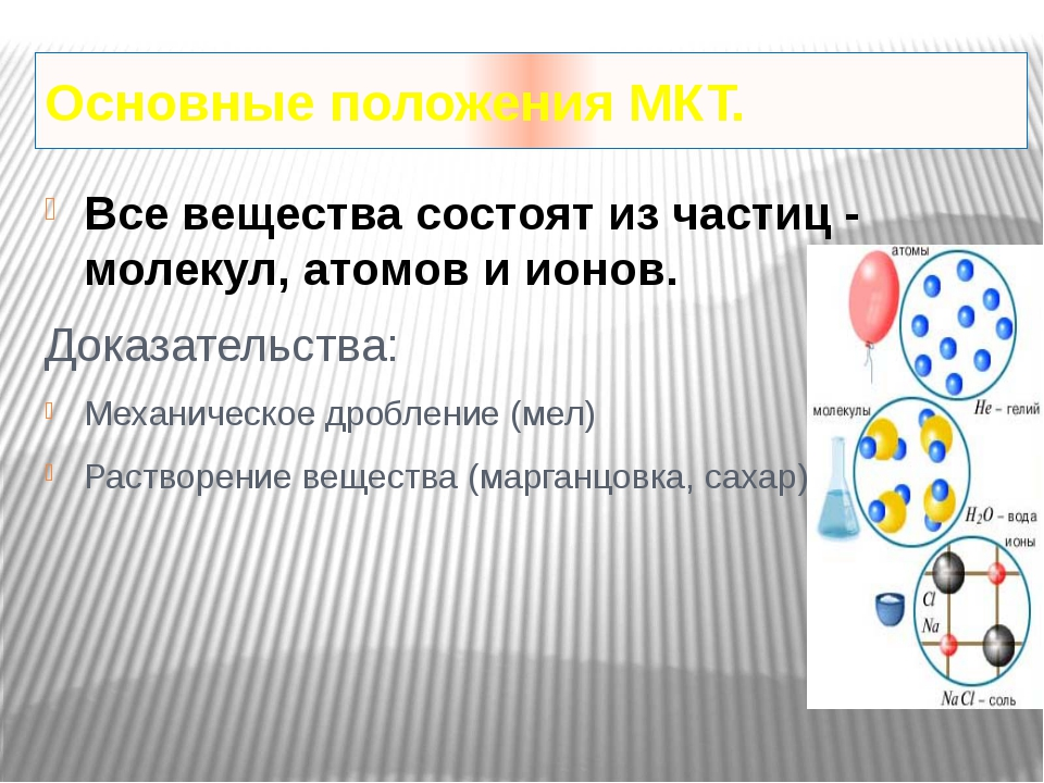 Основные положения МКТ. Все вещества состоят из частиц - молекул, атомов и ио...