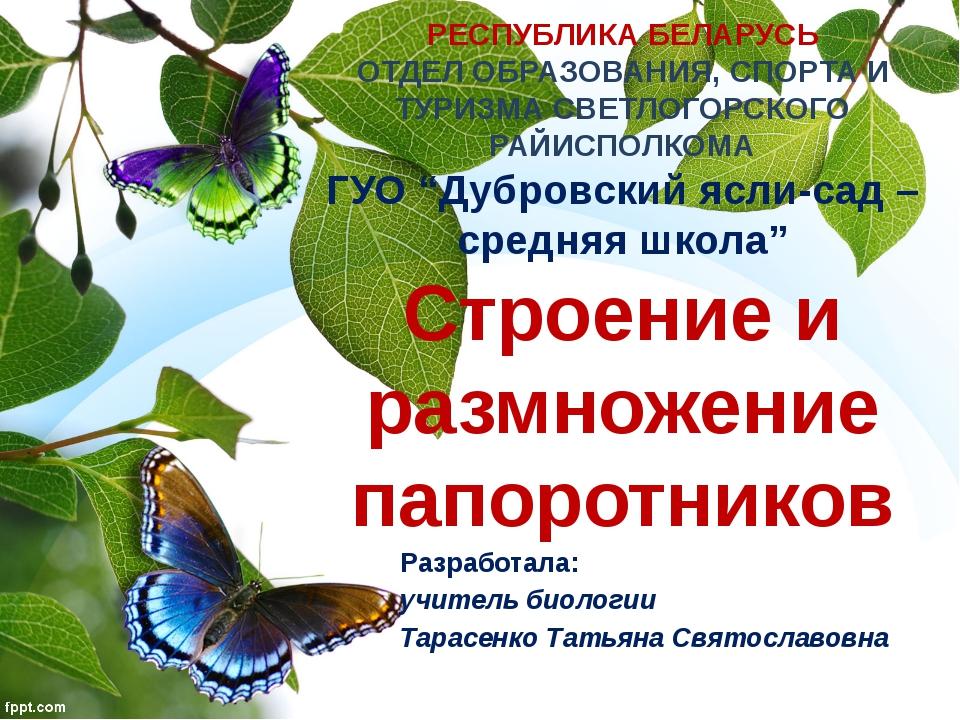 РЕСПУБЛИКА БЕЛАРУСЬ ОТДЕЛ ОБРАЗОВАНИЯ, СПОРТА И ТУРИЗМА СВЕТЛОГОРСКОГО РАЙИСП...