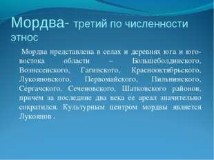 Мордва- третий по численности этнос Мордва представлена в селах и деревнях юг