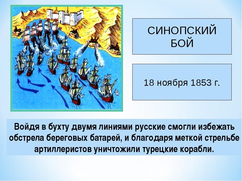 Войдя в бухту двумя линиями русские смогли избежать обстрела береговых батаре...
