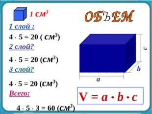 4  5 = 20 (см3) 4  5 = 20 (см3) 1 слой : 4  5 = 20 ( см3) 2 слой? 3 слой?