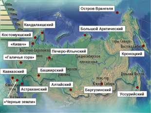 «Кивач» «Галичья гора» Кавказский Башкирский Астраханский Костомукшский Канда