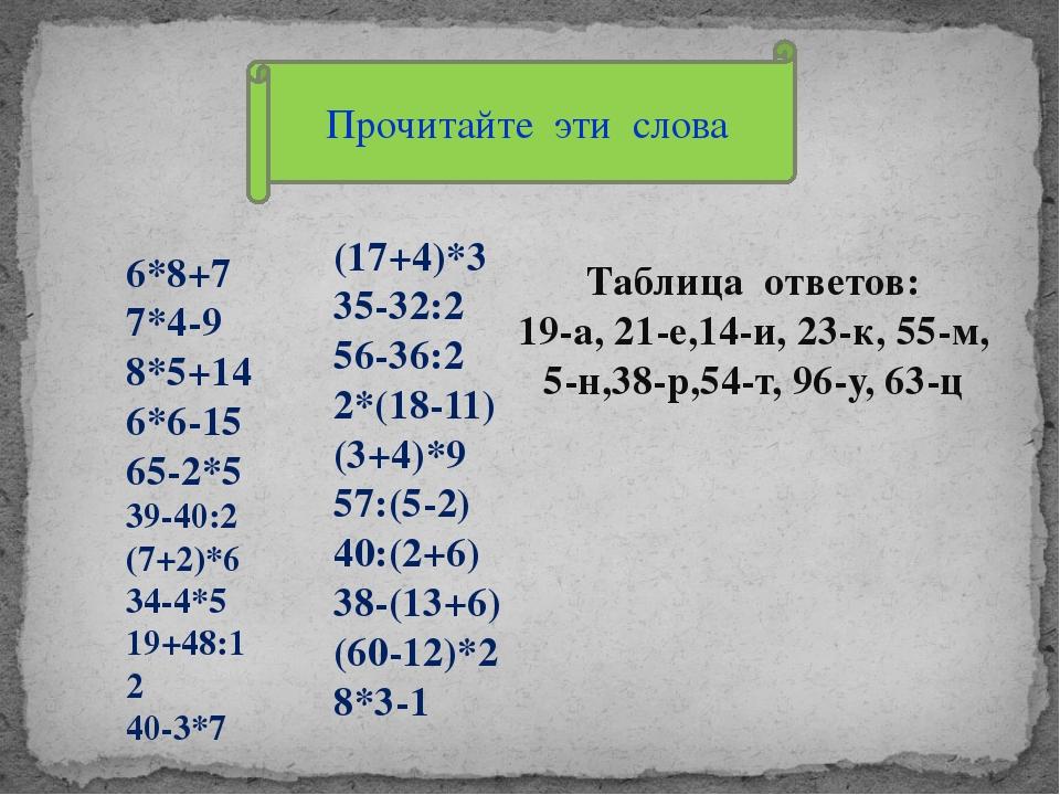 Прочитайте эти слова 6*8+7 7*4-9 8*5+14 6*6-15 65-2*5 39-40:2 (7+2)*6 34-4*5...