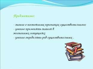 Предметные: - знание о постоянных признаках существительного; - умение примен