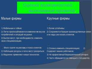 Оценка возможностей выполнения проекта. Малые фирмыКрупные фирмы «+» 1) Моби