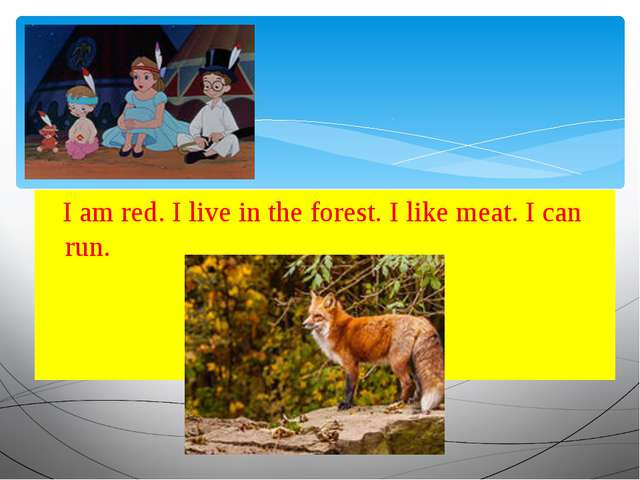 I am red. I live in the forest. I like meat. I can run.